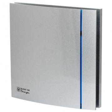 ø99mm 188x188mm timer og hygrostat med ventilator fugtstyret sølv design chrz 100 silent p s