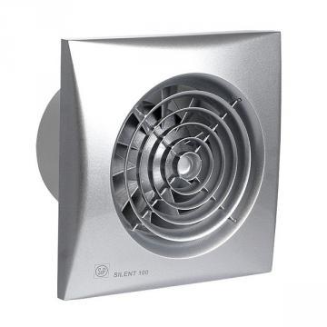 ø99mm 158x158mm timer og hygrostat med ventilator fugtstyret sølv chrz 100 silent p s