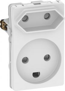 hvid modul 5 1 udtag europlug og jord m stikkontakt fuga lk
