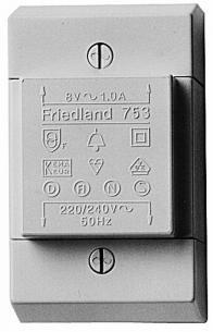 vægmontage d753 220-240v 1a 8v ringetrafo friedland
