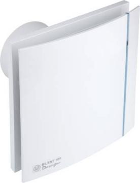 ø99mm 188x188mm timer og hygrostat med ventilator fugtstyret hvid design chrz 100 silent p s