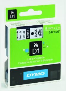 hvid sort mtr 7 x 9mm tape d1 dymo