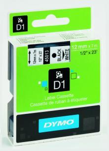 hvid sort mtr 7 x 12mm tape d1 dymo