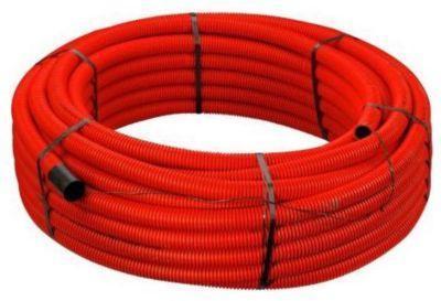 meter 50 træktråd og muffe med dobbeltvægget mm 94 110 peh pe rød kabelrør