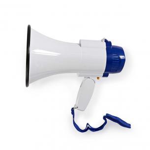 hvid blå optagefunktion sirene indbygget mikrofon indbygget db 115 til op volumenkontrol m 250 rækkevidde maksimum megafon