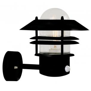 sort - sensor med væglampe blokhus nordlux