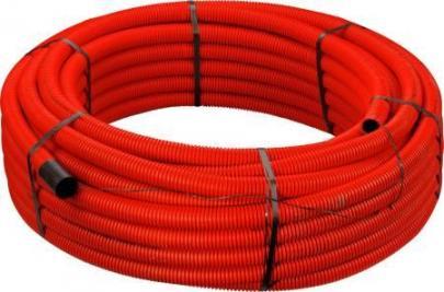 meter 50 træktråd og muffe med dobbeltvægget mm 51 63 peh pe rød kabelrør