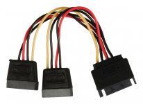 Intern Strømkabel SATA 15-pin Han - 2x SATA 15-Pin Hun 0.15 m
