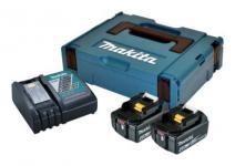 Makita Batteripakke 2x18V, 4,0AH Li-lon + Lynlader