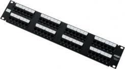 sort konnektor utp 6 kat stk 24 incl leveres porte 24 1he 19 patchpanel