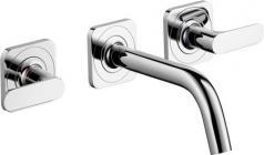 Hansgrohe AXOR Citterio M 3-huls håndvaskarmatur til vægmontering, med vingegreb, 166 mm tud