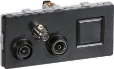 modul 2 td372 koksgrå slutdåse rj45 radio tv multimedie antenneudtag fuga lk