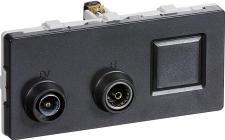modul 2 td301 koksgrå slutdåse rj45 radio tv antenneudtag fuga lk