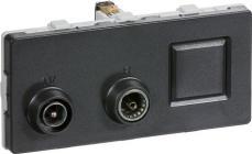 modul 2 td312 koksgrå sløjfedåse rj45 radio tv antenneudtag fuga lk