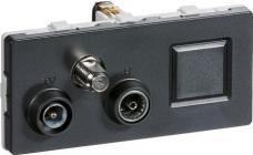 modul 2 td352 koksgrå slutdåse rj45 sat radio tv antenneudtag fuga lk
