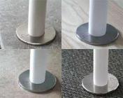 stål rustfri børstet 18mm diameter ind 55mm diameter udv 8 3 2-delt rør-roset two one click