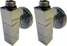 Kriss 4-K2 v/l ventilsæt m/runde tilslutningsrør & rosetter, krom